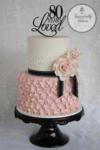 Black white and pink 80th Birthday cake | Cakes and sweets ...