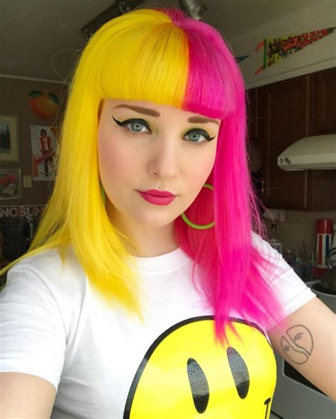 Half And Half Pink And Yellow Hair In 2019 Yellow Hair