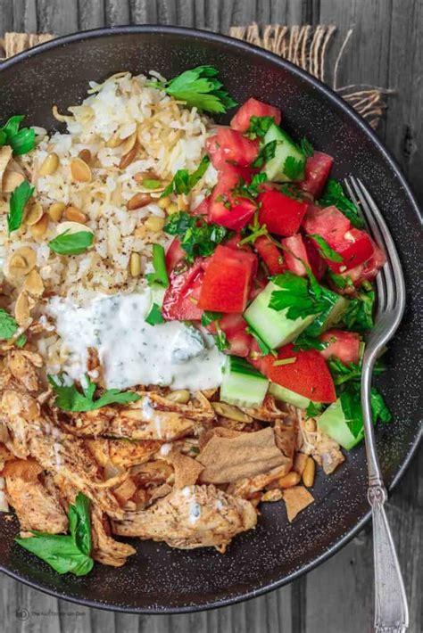 lebanese chicken fatteh dinner bowls  mediterranean dish