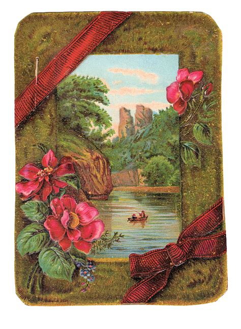 vintage clip art victorian card  moss