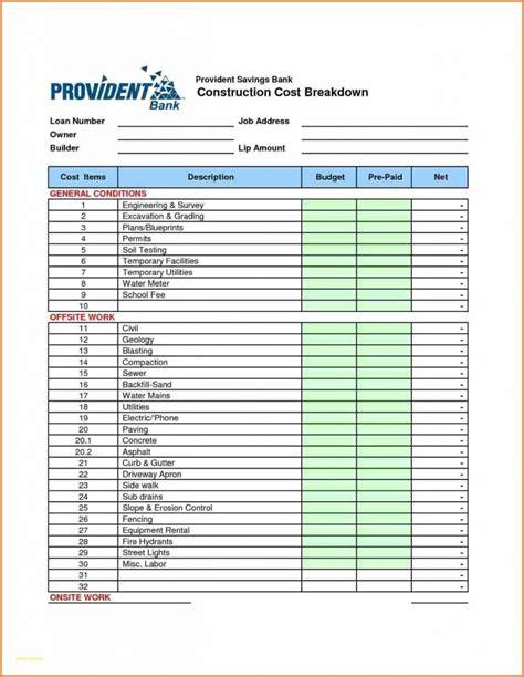spreadsheet   home construction budget db excelcom