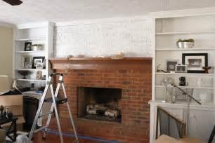 Whitewash Red Brick Fireplace