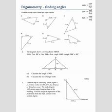 Trigonometry  Finding Angles  Worksheet By Tristanjones  Teaching Resources