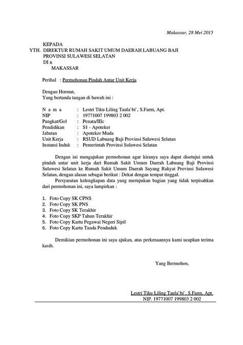 Surat Mutasi by Contoh Surat Permohonan Mutasi Kerja Pns Karyawan Swasta