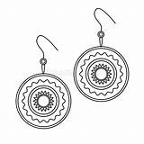 Earrings Outline Simple Line Coloring Doodle Jewelry Woman Illustrations sketch template