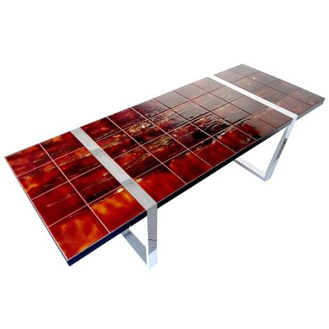 vintage ceramic table ls large vintage ceramic tile top coffee table 1960s