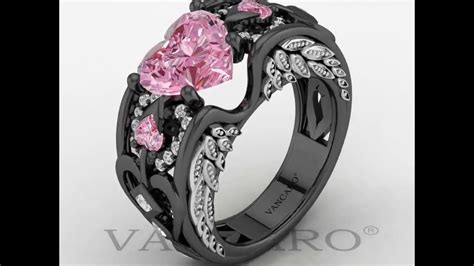 Angel Wing Collection Black And Pink Engagement Ring For