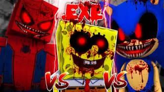 Minecraft Evil Sonic.exe Vs Spiderman.exe Vs Spongebob.exe