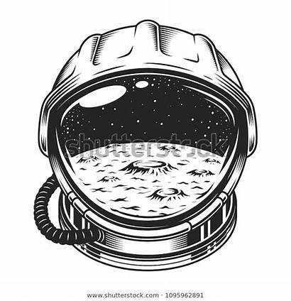 Moon Helmet Space Concept Galaxy Illustrations Isolated