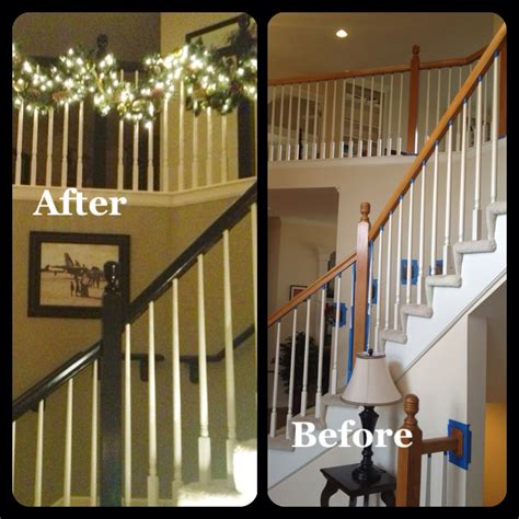 How To Refinish Stair Banister by Refinished Staircase Banister We Did It Home Home