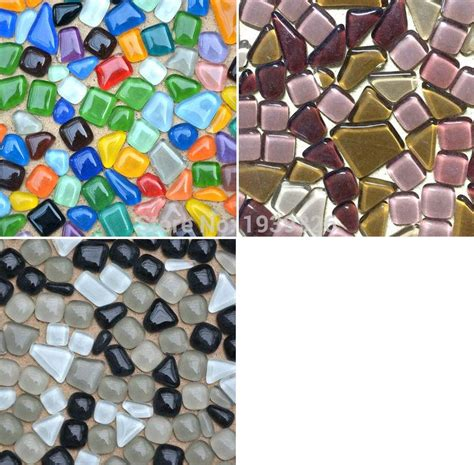 colorful glitter irregular mosaic beads  pcs diy glass