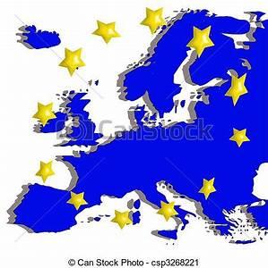 Vector Clip Art van europa, kaart, vlag - illustratie, van