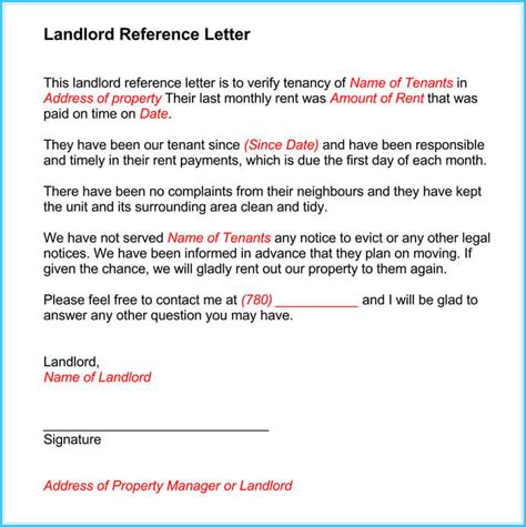 sample landlord reference letters