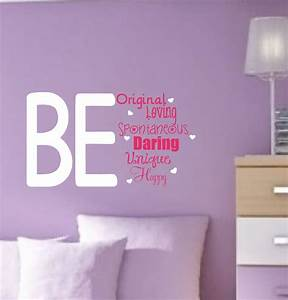 Girl vinyl wall decals teen saying bedroom decor by for Teenage girl wall decals ideas