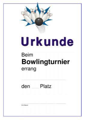 urkunde bowling strike vorlagen und muster zum ausdrucken