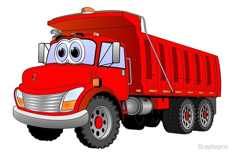 quot red dump truck 3 axle cartoon quot photographic prints by graphxpro redbubble