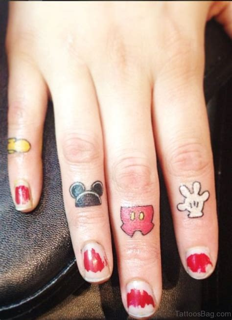 amusing mickey mouse tattoos  finger