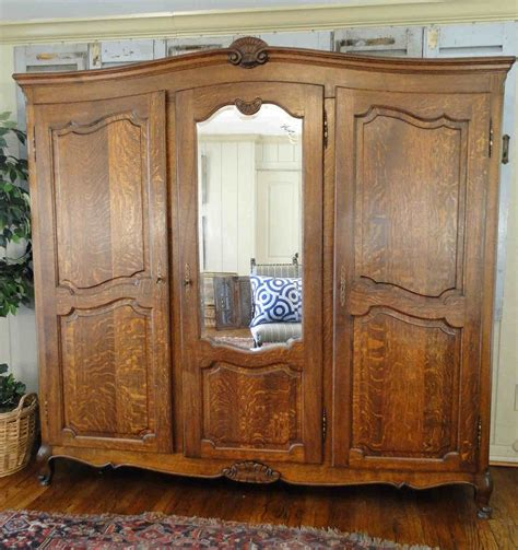 Clothing Armoire With Lock by Antique Country Wardrobe Armoire 3 Door Shelves