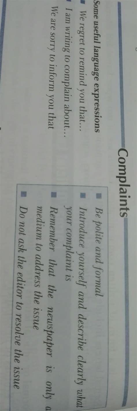 format  complaint letter class   urgent brainlyin