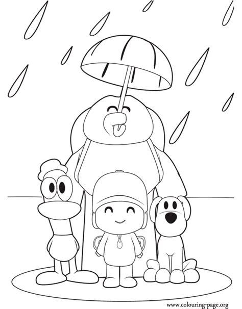 pocoyo pocoyo   friends   rain coloring page