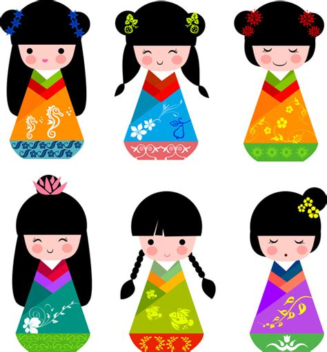 meiji card template traditional japanese dolls set free vector in adobe