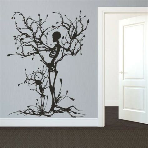 halloween skeleton wall decal removable vinyl tree  life