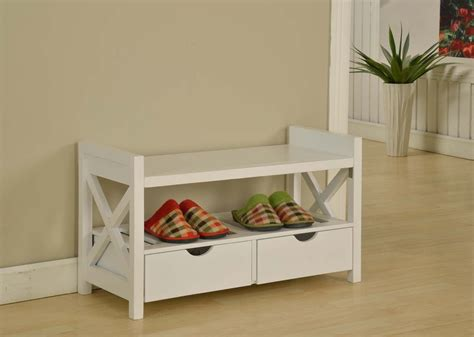 shoe bench white white shoe rack and 2 drawers with bench decofurnish