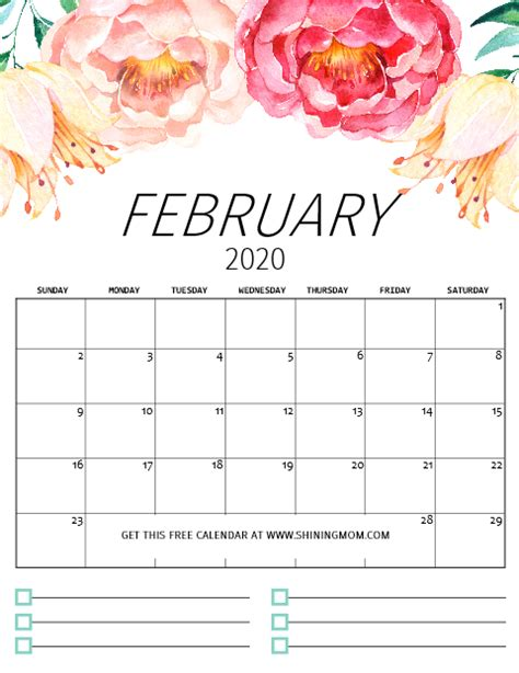 printable calendar pretty florals notes