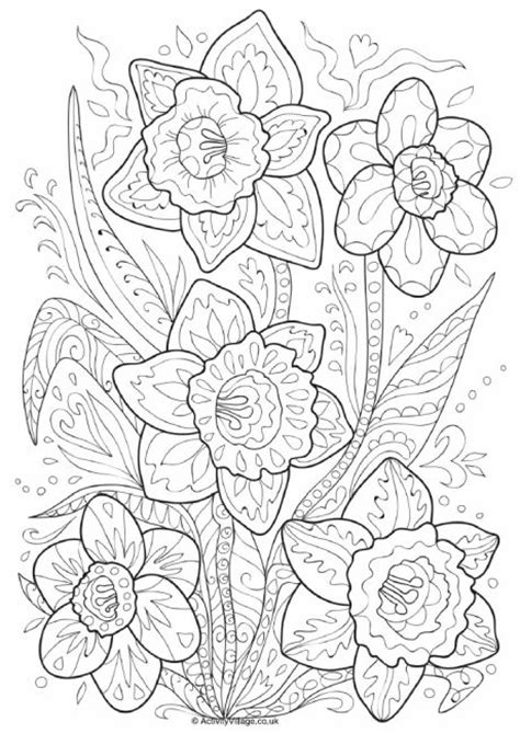 daffodil doodle colouring page