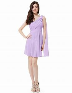 Light Purple Chiffon One Shoulder Padded Short Bridesmaid ...