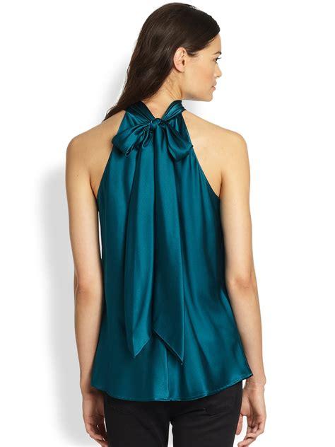 silk tie neck blouse ramy brook silk tie neck blouse in green lyst