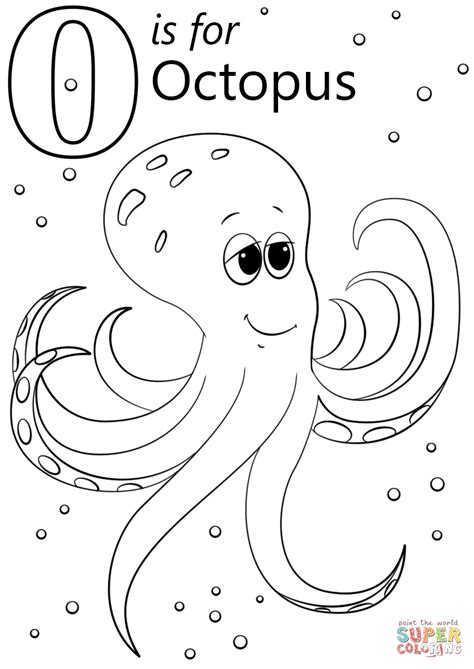 O is for Octopus coloring page from Letter O category