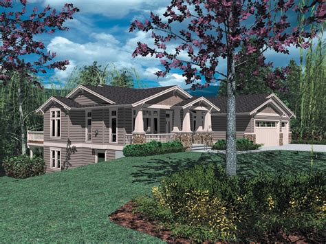 sloping lot craftsman classic  architectural designs house plans
