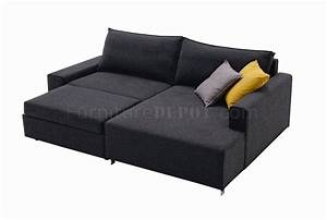 Charcoal grey fabric modern sectional sofa bed w metal legs for Charcoal grey sofa bed