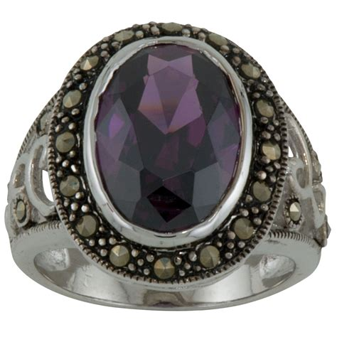 Sterling Silver Oval Marcasite Ring - Jewelry - Rings