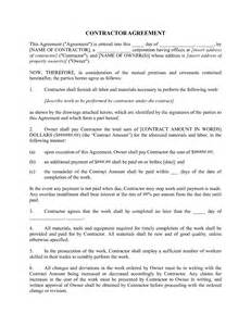 Free Construction Contract Agreement Forms