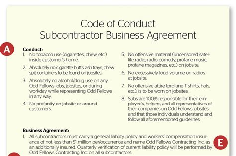 playing   rules subcontractor agreement remodeling