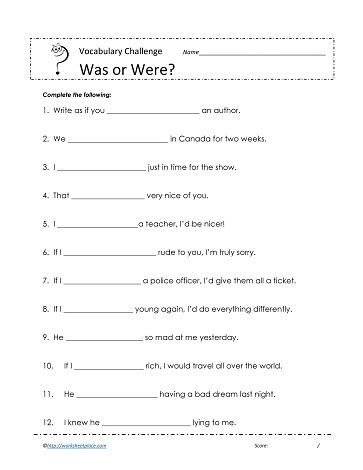 was or were worksheets