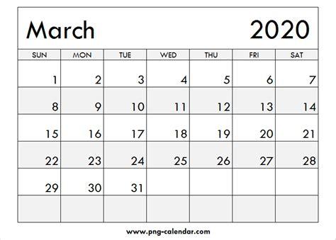 blank march calendar printable png calendar template