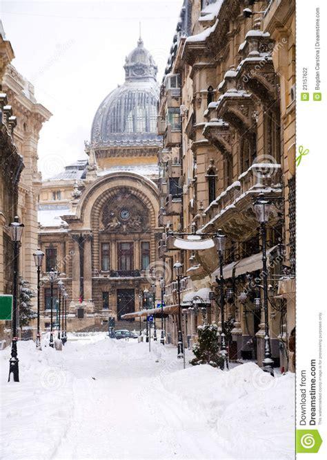 winter  bucharest historic center stock photography
