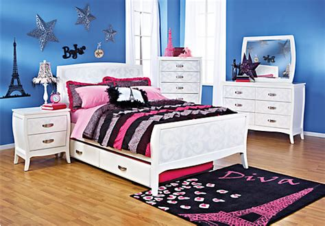 Rooms To Go Kids : Belle Noir White Pc Full Bedroom-bedroom Sets