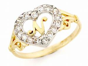 10k 14k gold heart shape letter 39n39 initial cz ring With n letter ring