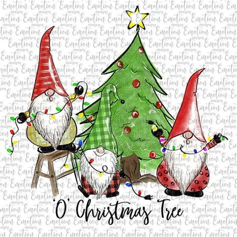 If you'd like to help me keep this site free, please consider paying a small amount for your downloads. O Christmas Tree Gnomes clipart, instant download ...
