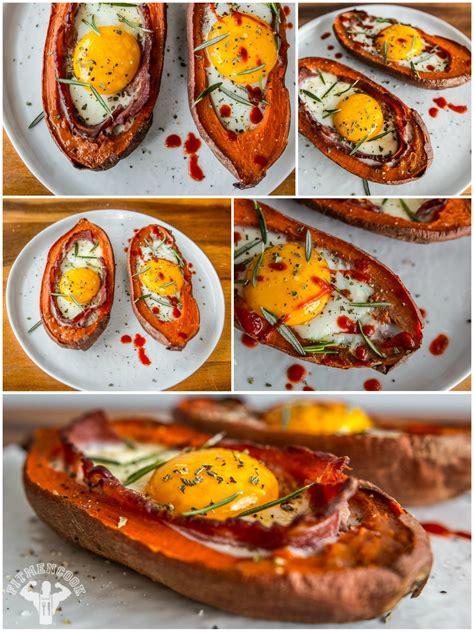 bacon egg stuffed sweet potato fit men cook
