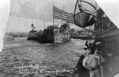 file wreck of uss maine being towed out of havana harbor