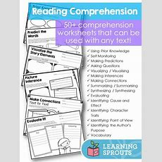 Reading Comprehension Worksheets And Graphic Organizers To Use With Any Text Comprehension
