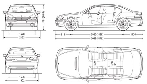 bmw  series  sedan  blueprints  outlines