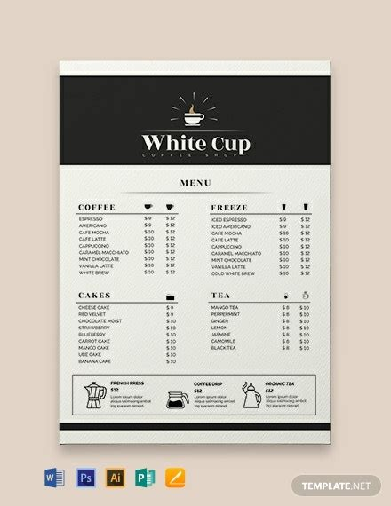 Abstract background coffee brown beige cup vector. FREE Coffee Menu Template - Word (DOC) | PSD | InDesign | Apple (MAC) Pages | Publisher ...