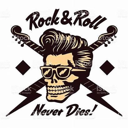 Rockabilly Rock Skull Vector Face Clipart Pompadour