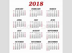 Annual calendar of 12 months 2018 First day of week